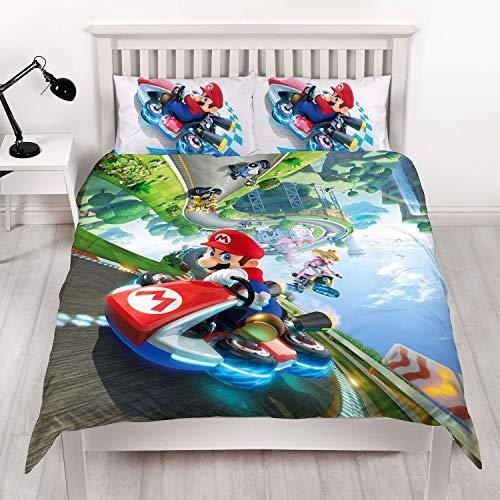 Unbekannt Super Mario Kart Nintendo Bettbezug Doppelbettgröße, offizielles Lizenzprodukt, wendbar, zweiseitiges Gravity-Design mit passendem Kissenbezug, - Primark Kostüm