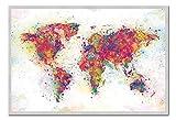 Weltkarte Farbe splash Poster Magnettafel silber gerahmt, 96,5x 66cm (ca. 96,5x 66cm)