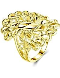 Epinki Plaqué Or Femme Bague Ovale Leaves Engagement Bague et Bague Alliance 8952d86a20b8