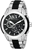 This spectacular Mens Armani Exchange Zulu watch is made from stainless steel in a smart black and silver design. Features include a round black dial with silver high-visibility baton hour markers, clear Armani Exchange logo at the 12 o'clock point, ...