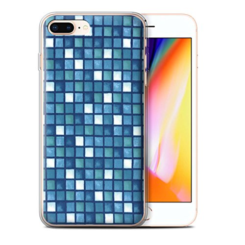 Stuff4 Gel TPU Hülle / Case für Apple iPhone 8 Plus / Gelb/Braun Muster / Bad Fliesen Kollektion Blau/Weiß