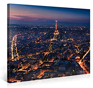 Impression Giclée sur Toile en Grand Format – PARIS SKYLINE – 100x75cm – Photo sur Toile de Tendue sur Châssis en bois – Tableau Artistique Contemporain – Image Déco d'Art Murale Prêt à Accrocher