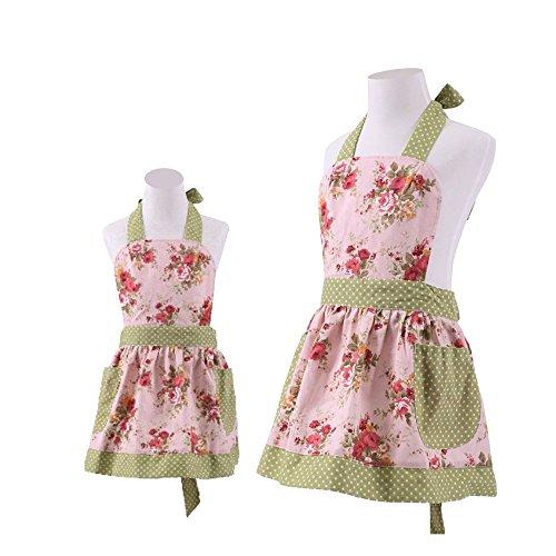FirstKitchen Schön Frau Schürze Schürzen Baumwolle Küchenschürze Modische Apron mit Taschen zum Kochen oder Backen (Mutter Schürze)