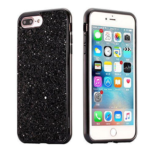 Coque iPhone 6 Plus, iPhone 6S Plus Coque Silicone Paillette, SainCat Ultra Slim Silicone Case Cover pour iPhone 6/6S Plus, Bling Bling Glitter Coque Silicone en Plastique Ultra Resistante Soft Gel TP Noir