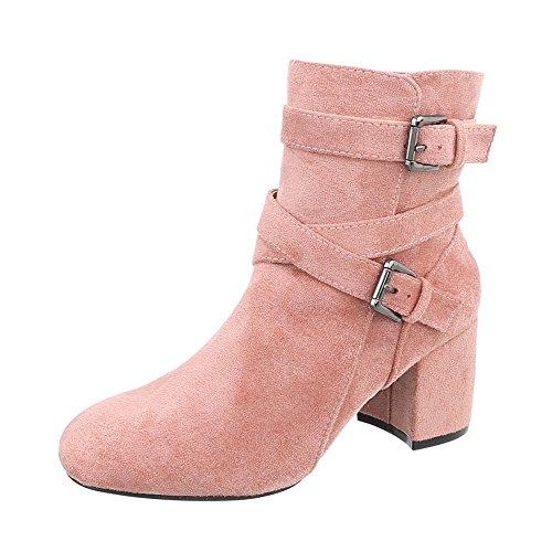 Ital-Design Klassische Stiefeletten Damen-Schuhe Klassische Stiefeletten Pump Schnallen DEKO Reißverschluss Stiefeletten Pink, Gr 39, Cl62P-