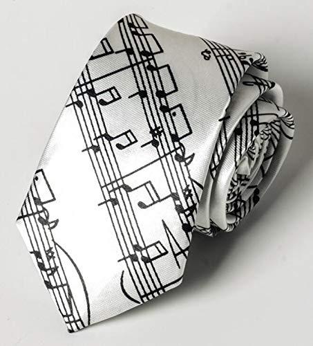 Corbata de caballero para hombre con notas musicales impresas, corbata de cuello para fiesta 145x5cm Tie 5