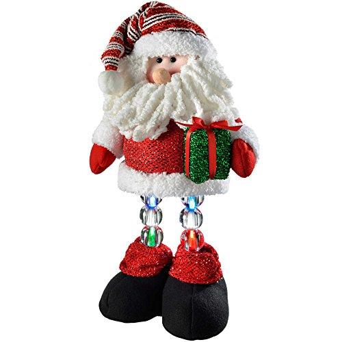 WeRChristmas Neuheit Santa mit LED-Licht bis Beine, Weihnachtsdekoration, Mehrfarbig, 42 x 22 x 13 cm