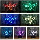 Luce notturna 3D aereo vintage LED luce notturna scivolo 7 colori USB lampada da tavolo ottica per bambini regalo di compleanno con controllo tattile variabile