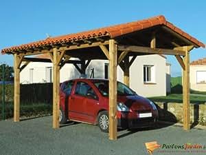 Carport autoportant en bois Ancelle 15,6m² pour une voiture