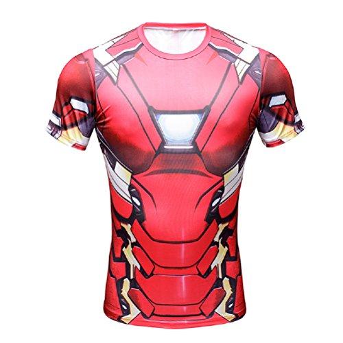 Born2RideTM Shirt im Superheld-Kostüm für Fitnessstudio/Radsport, Compression Baselayer T-Shirt mit kurzen Armen für Herren Gr. S, Iron Man