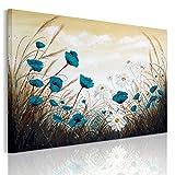 RAIN QUEEN XXL HD Grand Format Impression Sur Toile Avec Nature Bois Châssis Tableau Prêt à Accrocher (Bleu Fleurs Blanc Marguerite)