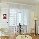 Yiwa 1 x gehäkelter Tüll-Vorhang, Tüll, Vorhang, Sichtschutz, Gaze, Balkon-Voile, für Zuhause, Hoteldekoration, unwaschbar (Stangentaschenversion) 100 x 200 cm weiß