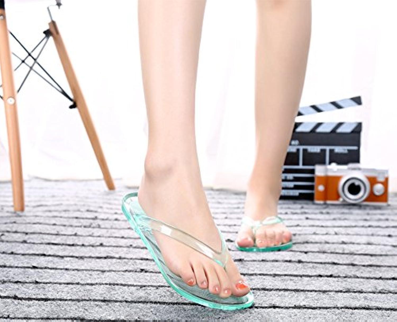 GOWOLD Zapatillas de baño de casa de verano transparente antideslizante plano de cristal transparente pies flip...