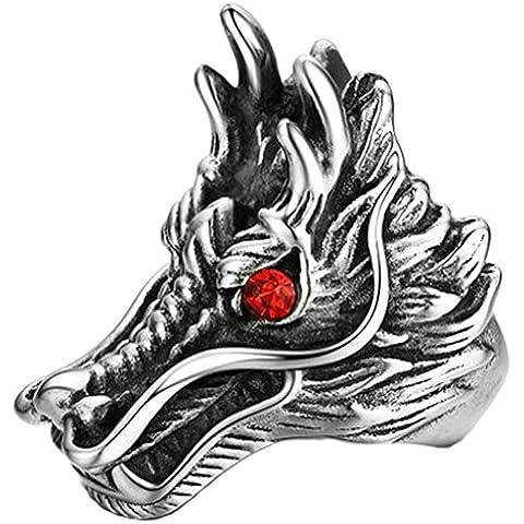 AnaZoz Joyería de Moda Acero Inoxidable Anillo de Hombre Cabeza de Dragón Vintage Redondo Rojo Cristal Tamaño 15 a 25 Simple