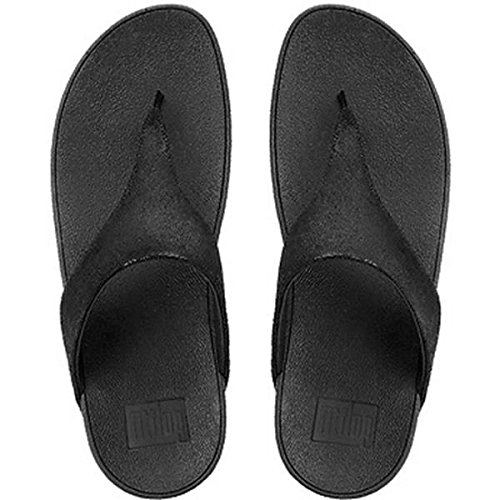 FitFlop Shimmy Suede Toe-Post, Sandales Bout Ouvert Femme BLACK GLIMMR