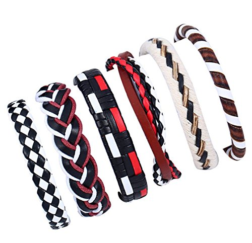 Aikesi Bestseller-Armband Leder geflochten verstellbar Leder Armband Seil Zubehör Mode-Schmuck für Frauen oder Männer Longitud 17-18cm C