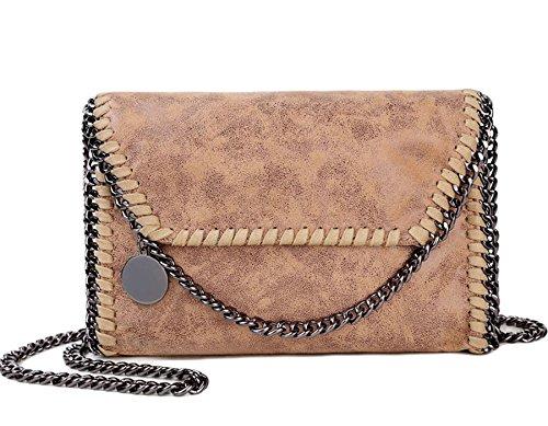 Rovanci Damen Handtasche Elegant Tote Handtasche Taschen Damen Shopper Schultertasche Grau Braun