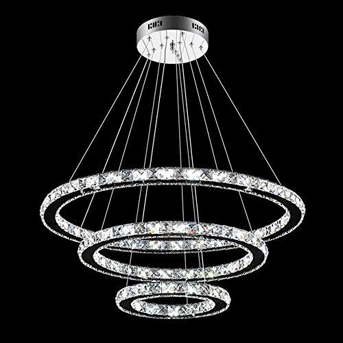 SAILUN LED Kristall Hängelampe Drei Ringe (96W Kaltweiß)