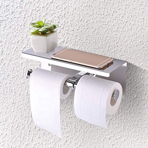 GXMZL Toilettenpapierhalter - an der Wand befestigter doppelter Toilettenpapierhalter aus Edelstahl SUS 304 mit doppelter Papierrolle