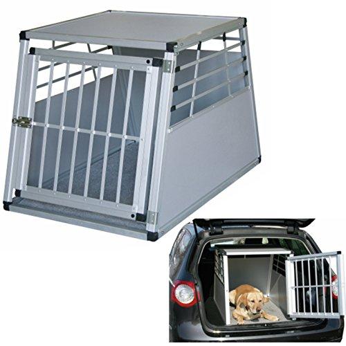 mobile Alu-Transportbox für Hunde in 2 Größen wählbar: 75x55x50cm oder 92x65x65cm, vorn und hinten abgeschrägt, mit Gitter-Tür Aluminium-Käfig-Auto-Box Hundekäfig Aluminiumkäfig Hundebox Kfz-Alubox Aluminiumbox für Kofferraum Katzen Transportkäfig Katze Hunde leicht,stabil,sicher Hundetransportbox KfZ-Hundekäfig