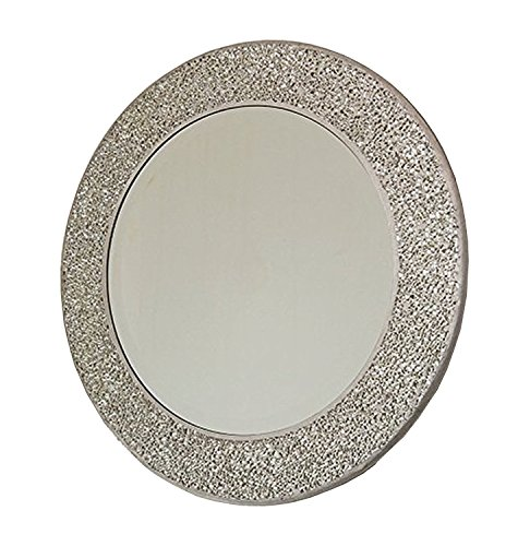 Home Treats Round Crackle Wall Mirror Handmade Glass Mosaic Silver Frame 40 x40cm New …