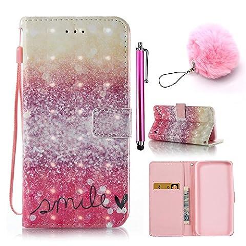 PU Cuir Étui pour Samsung Galaxy S6 Cuir Case Housse Simple et Élégant 3D Couverture Rose Leather Wallet Case Flip Étui