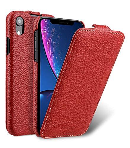 MELCKO Edle Tasche für Apple iPhone XR (6,1 Zoll), Case Außenseite aus beschichtetem Leder, Schutz-Hülle aufklappbar, Flip-Case, Ultra-Slim Cover, Etui, Rot