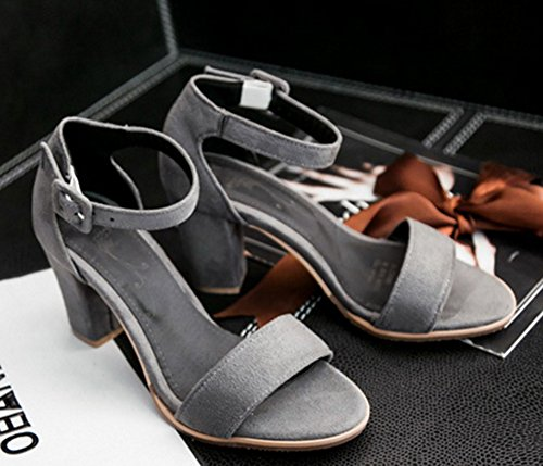 Aisun Damen Einfach Offene Zehe Nubukleder Blockabsatz Knöchelriemchen Sandale Grau