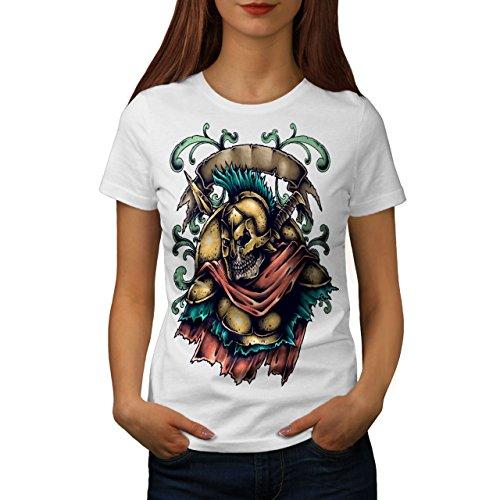 Wellcoda Tot Spartanisch Krieger Schädel Frau XL T-Shirt (Krieger-schädel-t-shirt)