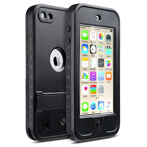 iPod Touch 6 Hülle, ULAK iPod Touch 5 Hülle Wasserdicht Stoßfest Dirtpoof Schutzhülle Case Cover für Apple iPod Touch 5 6 Generation mit Standfunktion (Schwarz) (Ipod-hüllen Generation 5)