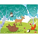 Fototapeten Kinderzimmer Wald Tiere 352 x 250 cm Vlies Wand Tapete Dekoration Wandbilder XXL Moderne Wanddeko - 100% MADE IN GERMANY - Fuchs Bär Eule Runa Tapeten 9122011a