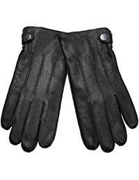 ELMA Durable Men's Deerskin Leather Winter Driving Cashmere Lined Gloves