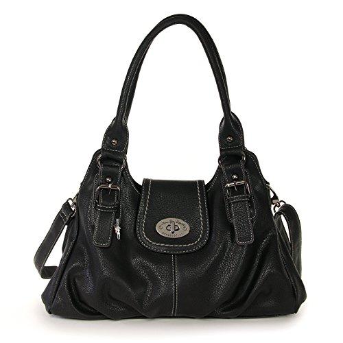 Hanf Messenger Tasche (Jennifer Jones Tasche Damen Umhängetasche Leder schwarz Damenhandtasche mit Fee-Anhänger OTJ111S)