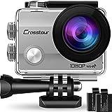 """Crosstour Action Cam, Sport WiFi Camera 1080P 2""""LCD Full HD Impermeabile 2 Batterie 1050mAh 170°Grandangolare e Kit Accessori per Ciclismo Nuoto e Altri Sport Esterni (Argento-1080p)"""