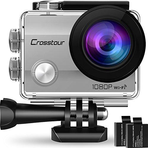 """Crosstour Action Kamera 1080P WiFi Full HD Sports Cam 12MP 2"""" LCD Helmkamera Wasserdicht 170°Weitwinkel mit 2 1050mAh Batterien und Zubehör Kits(Silber)"""