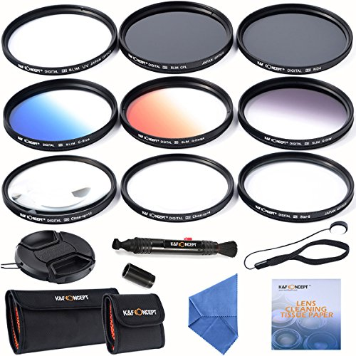 K&F Concept 62MM Kit Pack de Filtros UV CPL ND4 Graduado Color Naranja Azul Gris+Close Up +4 +10 + 6 Puntos Estrellas Filtros para Cámara Sony Alpha A57 A77 A65 Tamron Sigma