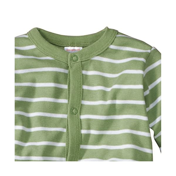 WELLYOU Pijamas para bebés y niños, Pijamas de una Pieza 100% Hecho de algodón, Color Verde con Rayas Blancas. Tallas 56-134 2