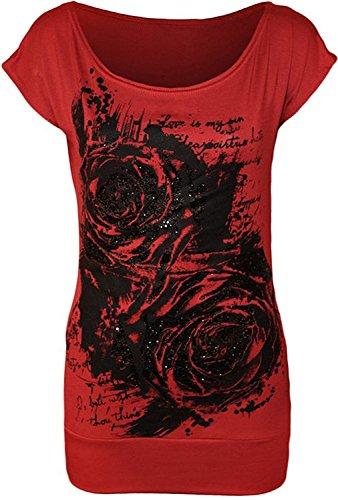 Fashion Essentials-Womens Glitter Graffiti-Rosen-Blumen-Druck-Kleid Lange Cap Sleeve T-Shirt Spitze - 14.08 (36-38, RED) (Sleeve Cap Womens T-shirt Red)
