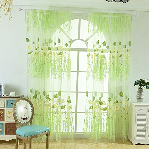 Prosperveil - tenda a pannello in voile con motivo floreale e foglie, in tulle, per soggiorno, camera da letto, decorazione per la casa, 200 cm green