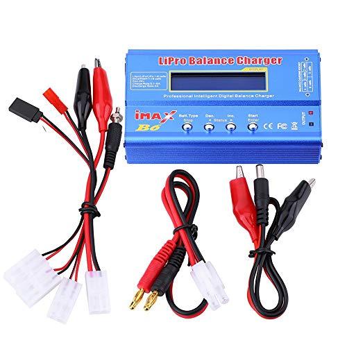 Cargador RC, 3 Tipos 80W 1-6S Digital Cargador de Balanza Fuente de Alimentación del Descargador para Baterías Batería de Litio(Conector )