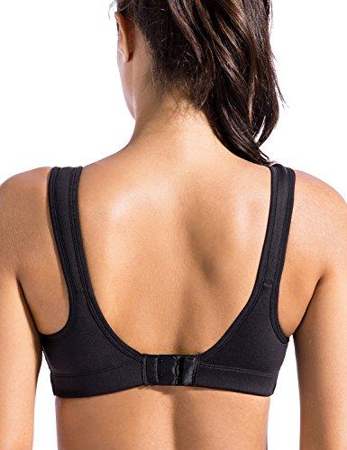 SYROKAN Femme Soutien Gorge de Sport Haut-Impact Sans Armatures Fermeture Velcro Noir