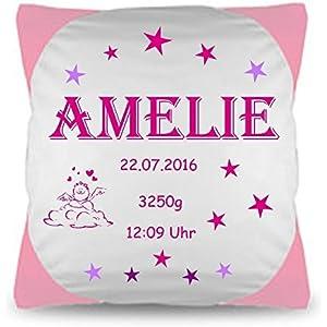 Kissen mit persönlichen Daten Namenkissen Baby Geschenk zur Geburt oder Taufe Wunschkissen .Mädchen Pink,Rosa personalisiert