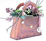 Rostikal | Deko Tasche zum Bepflanzen und Dekorieren | Pflanzgefäß in Edelrost Rost | (21 x 21 cm)
