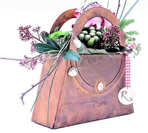 Rostikal   Deko Tasche zum Bepflanzen und Dekorieren   Pflanzgefäß in Edelrost Rost   (35 x 35 cm)