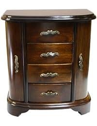 Joyero de madera - armario con puertas laterales, cajones y espejo Mod.2308 (23 x 27 cm)