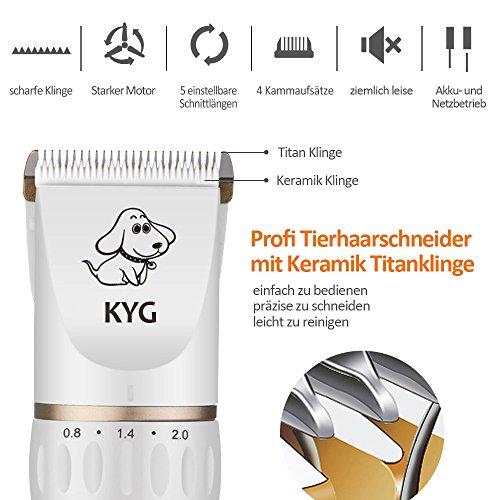 KYG Profi Hunde Schermaschine Elektrische Tierhaarschneider Haarschneidemaschine Haustiere Mit Aufsteckkümmen,Schere,Nagelfeile Gold/Weiß - 3