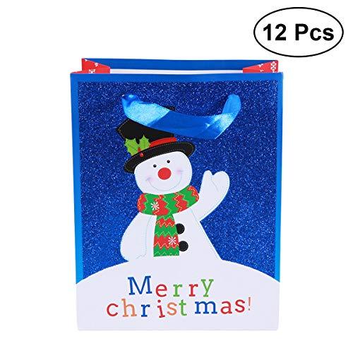 Weihnachten Weihnachten glitzerte Papiertüte Handtasche Schneemann Muster Candy Bag Geburtstag Party Gefälligkeiten und Geschenke - 23x18cm ()