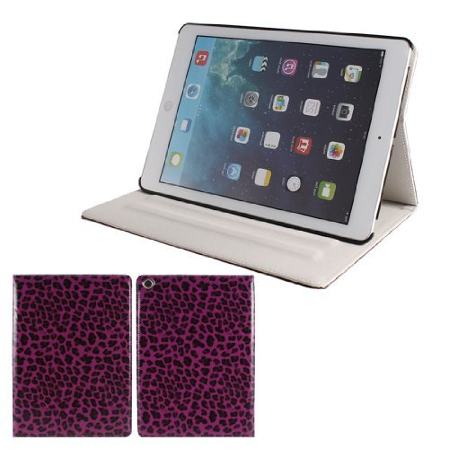 Fuchsia Leopard Pattern Sleep intelligente wake-up case voor de iPad Air 5. 5 Fuchsia Leopard
