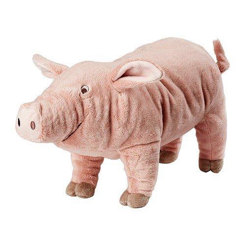 Ikea Stofftier-Schwein Knorrig Plüschtier Schweinchen - 16cm breit - 12cm hoch - 37cm lang - Sehr Kuschelig - Waschbar - SICHERHEITSGETESTET - für Kinder jeglichen Alters