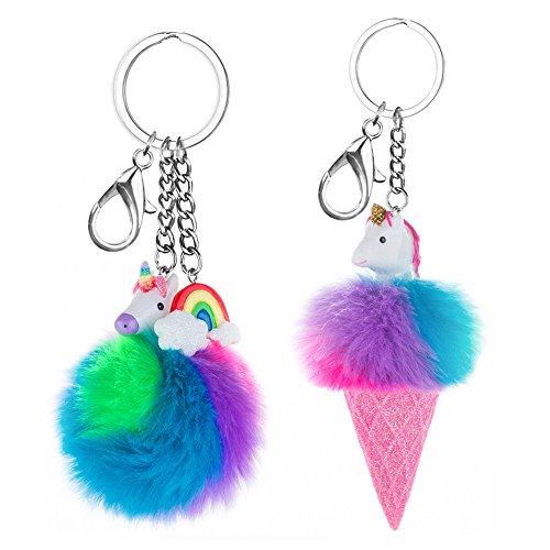 Skywisewin Colorful Kunstfell Ball Schlüsselanhänger, Rainbows Einhörner & Glitzer Pom Pom Schlüsselanhänger Bag Charm (One Pair)